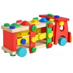 Fa összeszerelhető teherautó kalapácsos játékkal