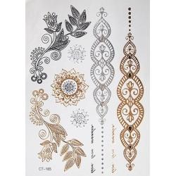 Arany-ezüst színű fémes tetoválás