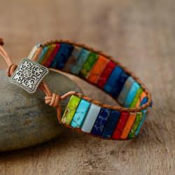 Csakra karkötő - 7 különböző színű kővel
