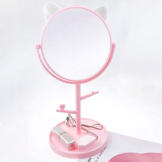 Cica füles tükör ékszertartóval