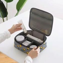 Citrom mintás merevített falú kozmetikai táska - sminktáska