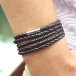 Férfi többsoros karkötő - fekete / barna szín