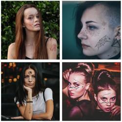 Pókháló arc tetoválás