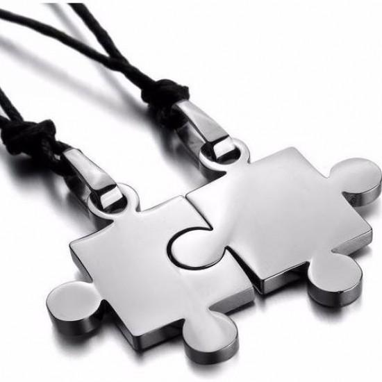 Puzzle páros acél medál nyaklánccal