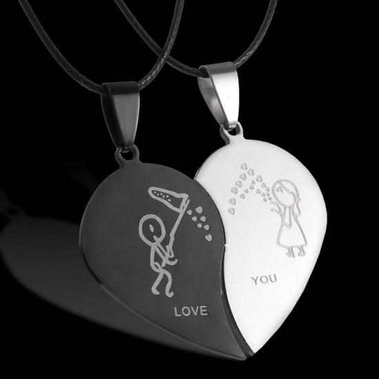 Szív alakú páros acél medál nyaklánccal