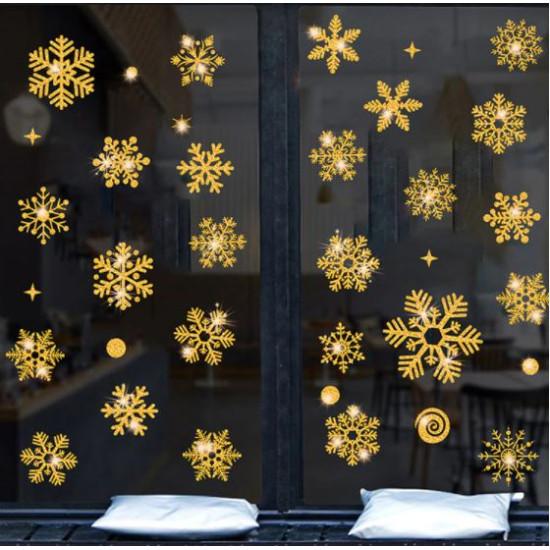 Hópehely újraragasztható ablak matrica - arany színű
