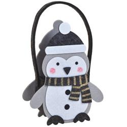 Pingvin alakú filc kosárka ajándékoknak