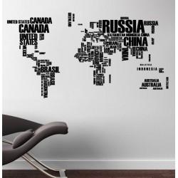 Világtérkép falmatrica - országnevek