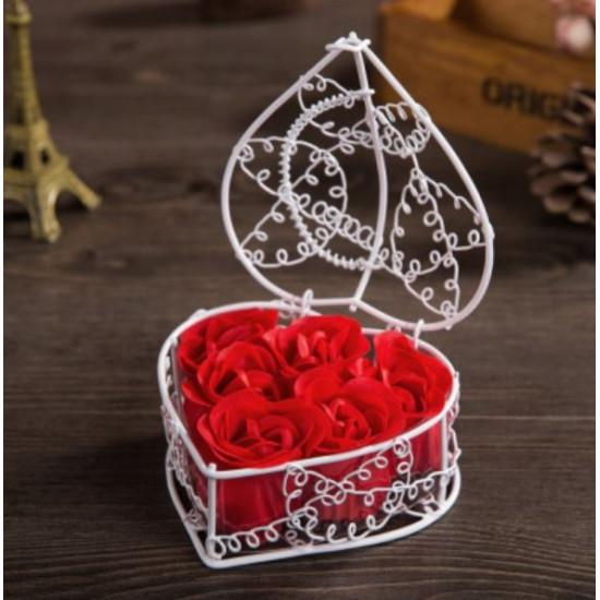Rózsa szappan kosárban - 6 db