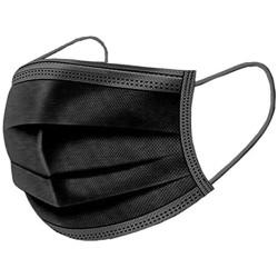 Három rétegű fekete eldobható sebészi maszk, felnőtt méret (10 db)