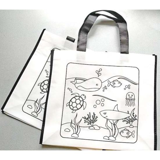 Kifesthető tengeri témájú bevásárló táska