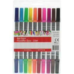 10 színű filctoll készlet - dupla heggyel