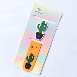 Kaktusz vidám mágneses könyvjelző