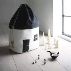 Fekete-fehér ház alakú játéktároló zsák