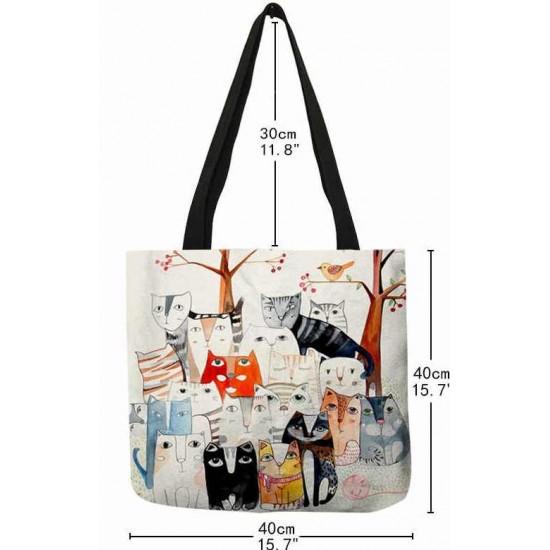 Vászon bevásárló táska cica mintával