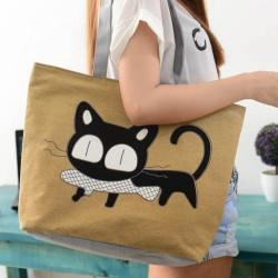 Barna cicás oldaltáska, bevásárló táska