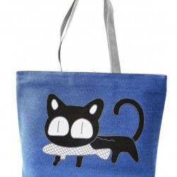 Vászon cicás oldaltáska, bevásárló táska