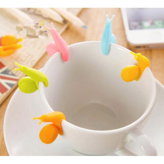Csiga pohár jelölő és teafilter tartó 5 db