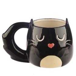 Feline macska - fekete cica - alakú bögre