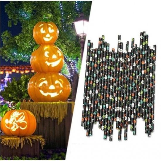 Halloween mintás papír szívószál - 25 db