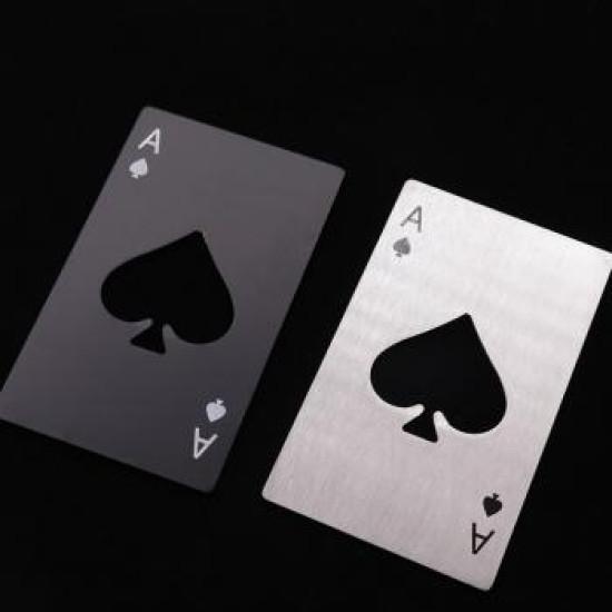 Sörnyitós acél kártya - pikk ász