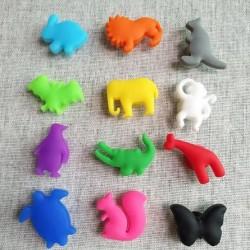Pohár jelölő szilikon színes állatok