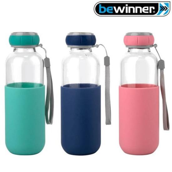 Üveg palack - kulacs szilikon borítással