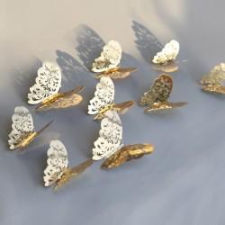 Arany / ezüst színű pillangó fal dekoráció