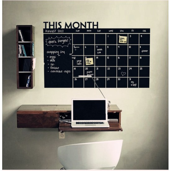 Havi tervező tábla matrica - fekete