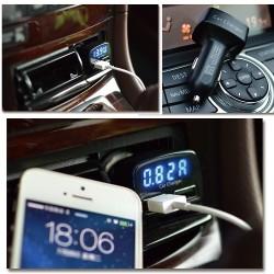 2 USB-s autós telefon töltő kijelzővel