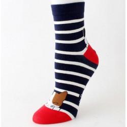 Cica mintás csíkos - pöttyös zokni több színben