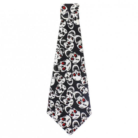 Fekete-fehér koponyás nyakkendő
